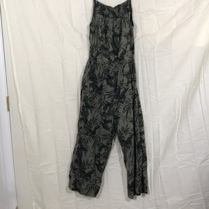 Old navy olive green and palm print jumpsuit